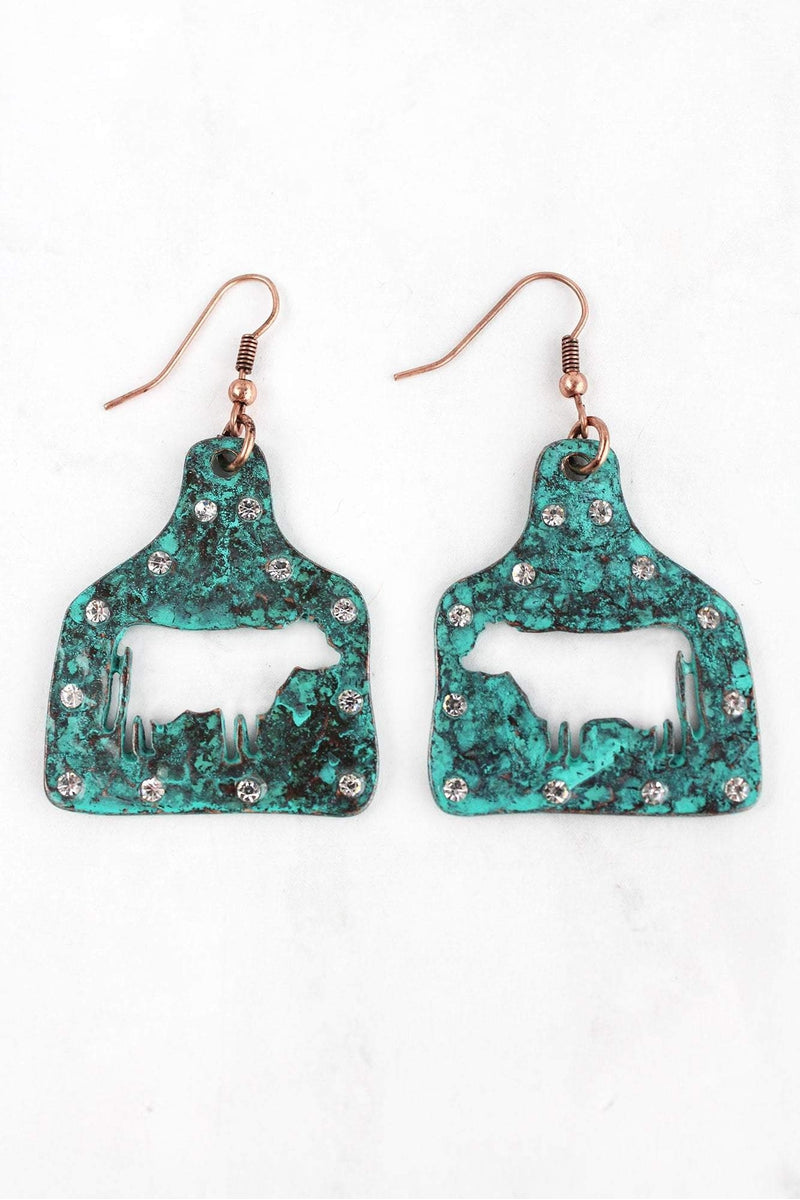Large Crystal Patina Cut-Out Cow Ear Tag Earrings
