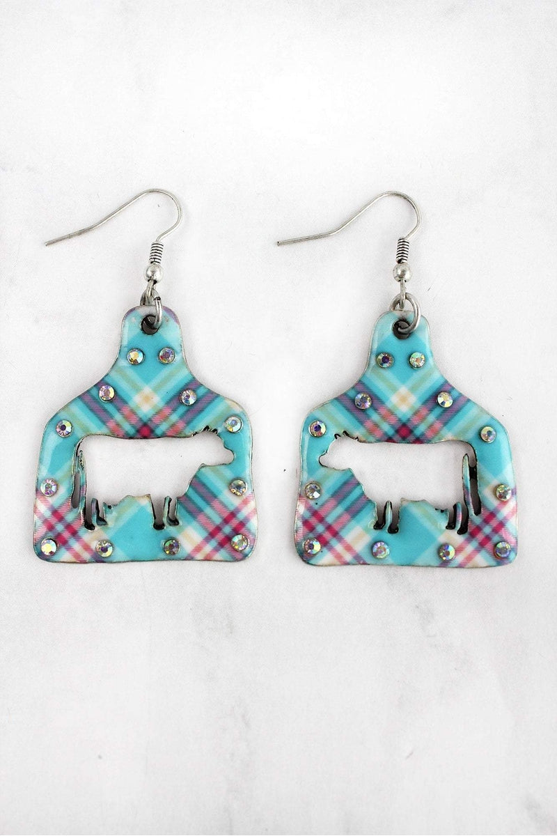 Large Crystal Plaid Cut-Out Cow Ear Tag Earrings
