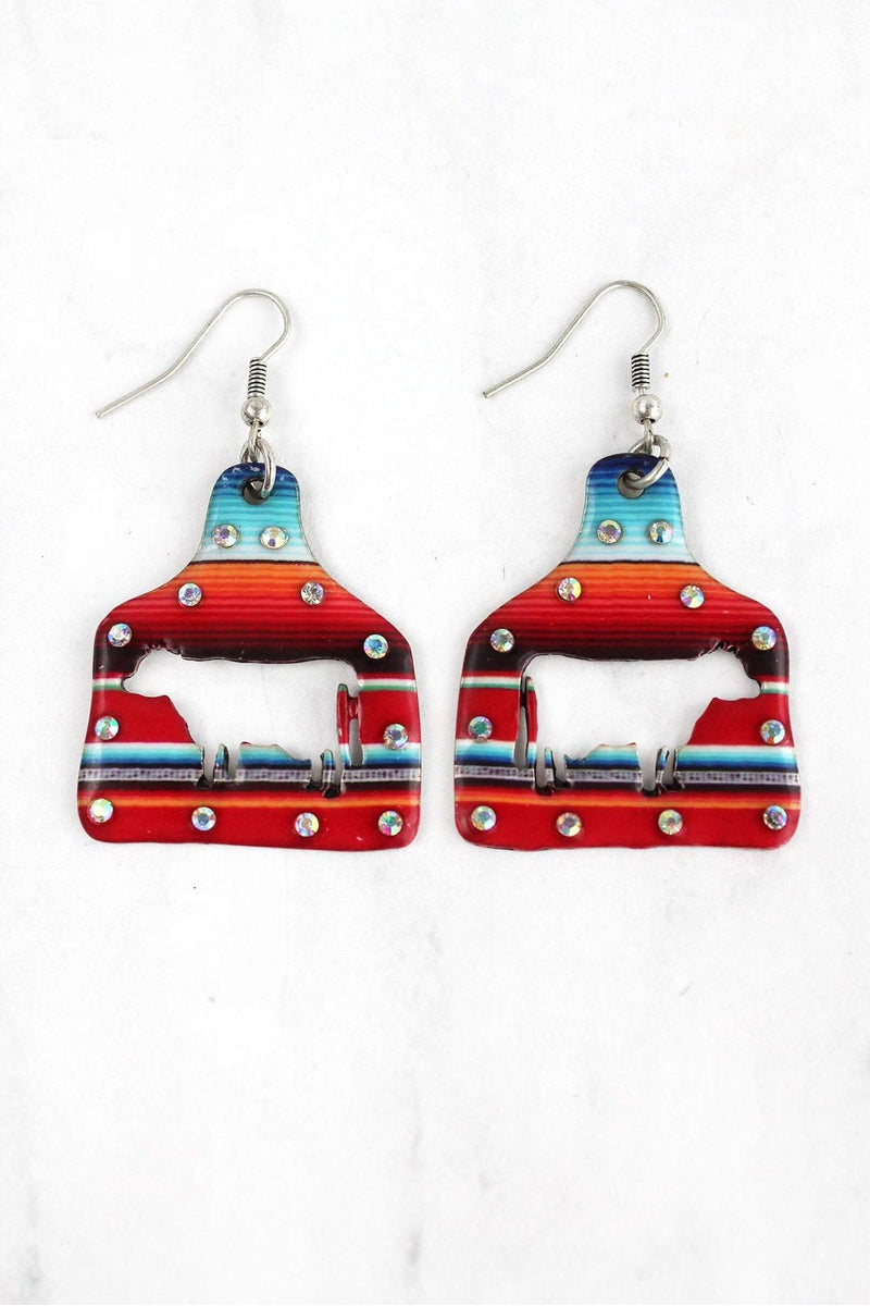 Large Crystal Serape Cut-Out Cow Ear Tag Earrings