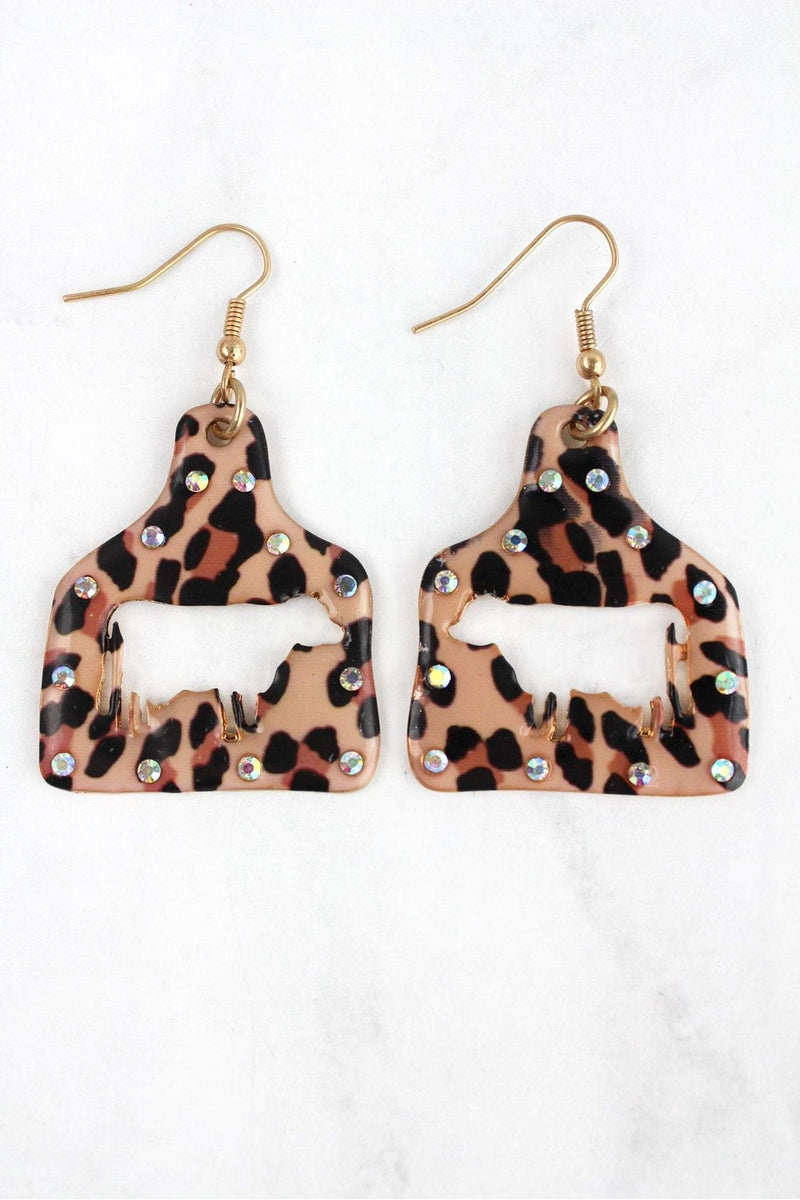 Large Crystal Leopard Cut-Out Cow Ear Tag Earrings