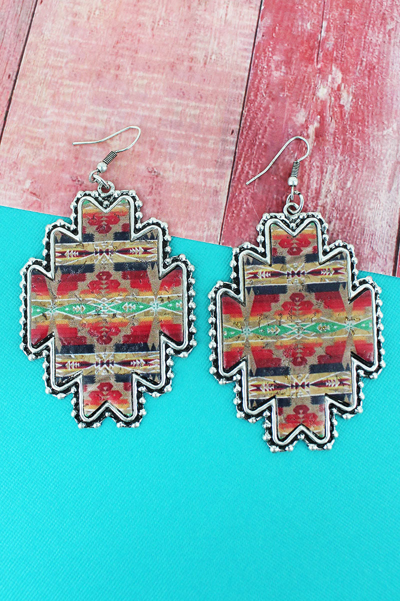 Silvertone Beaded Edge Sedona Sun Cork Earrings