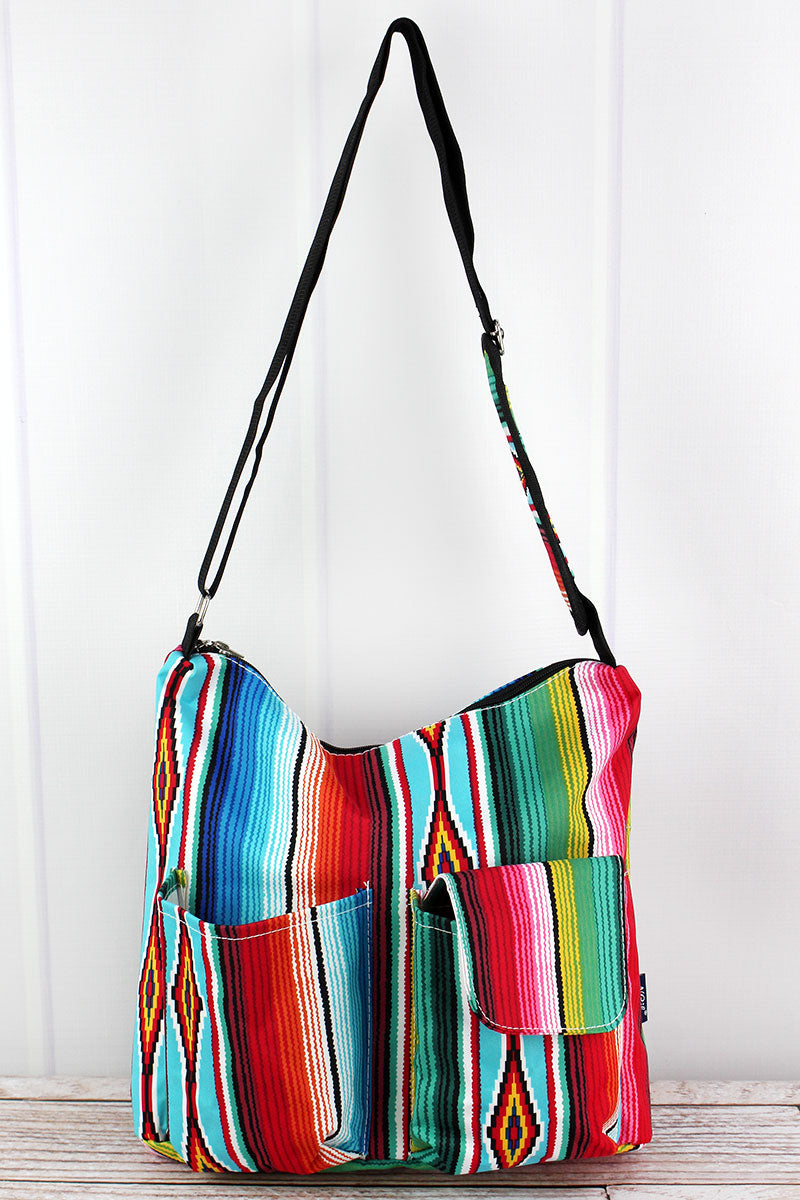 NGIL Southwest Serape Multi-Pocket Crossbody Tote