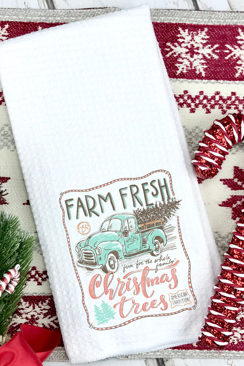 Sketch Farm Fresh Christmas Trees Waffle Kitchen Towel