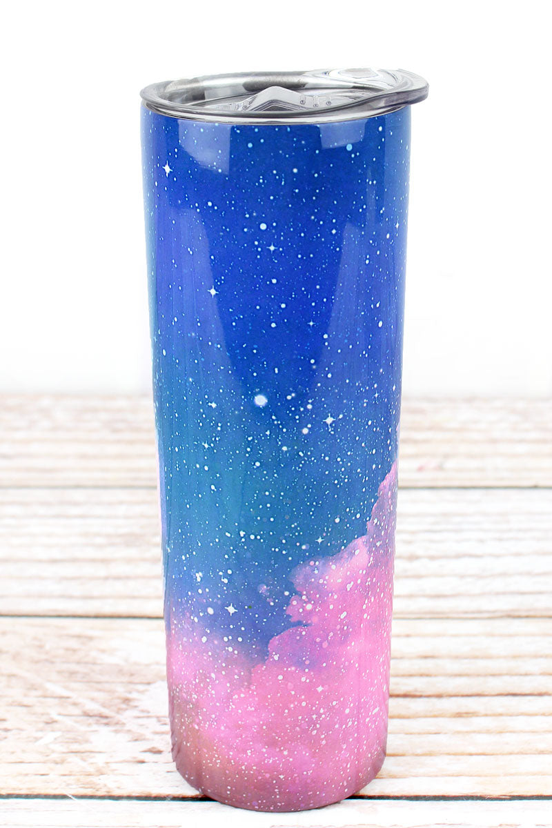 Blue and Pink Galaxy Skinny Tumbler