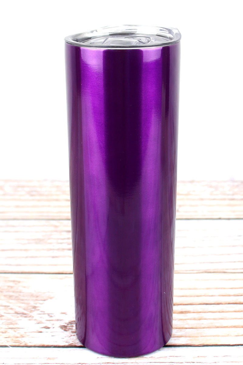 Metallic Purple Skinny Tumbler
