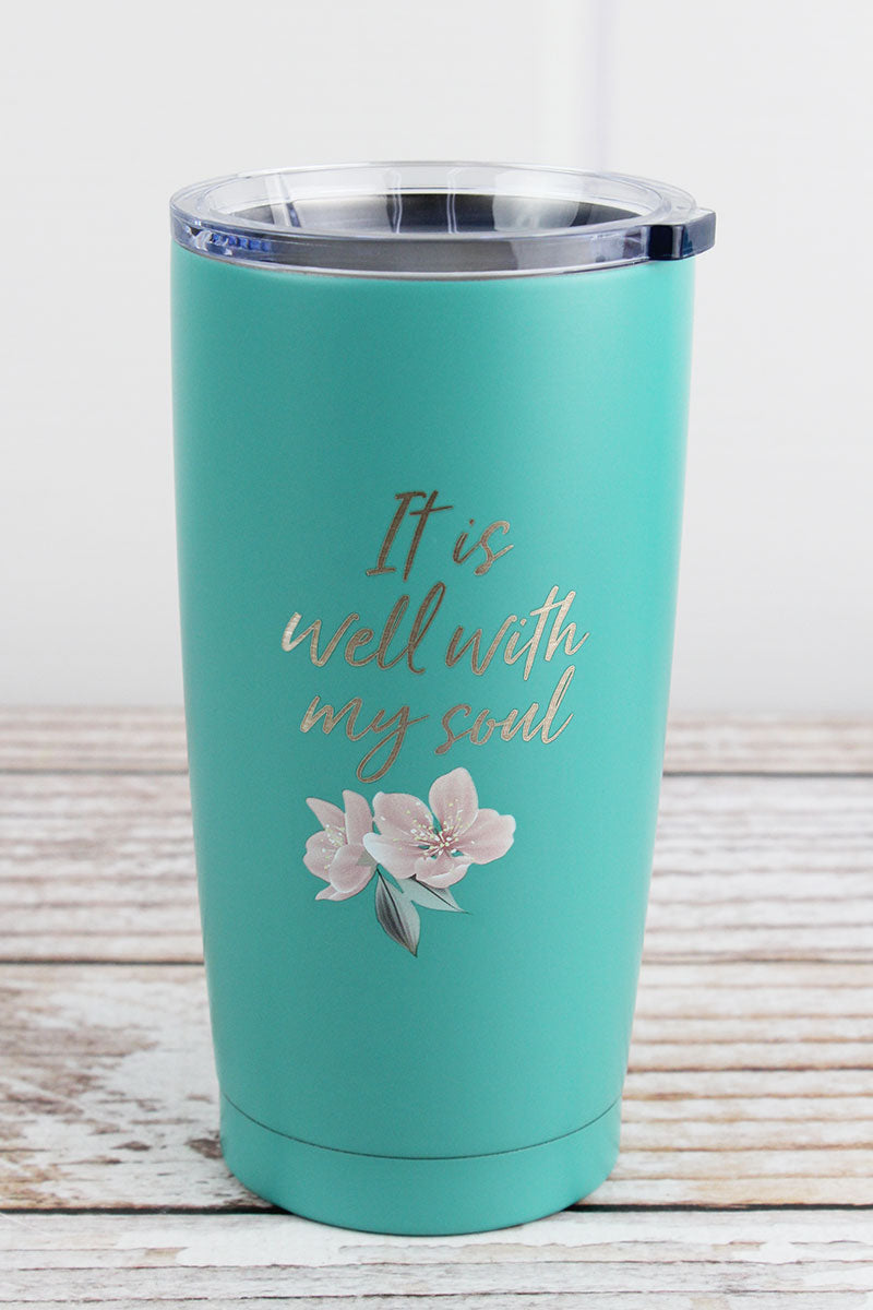 It Is Well With My Soul Teal Travel Mug