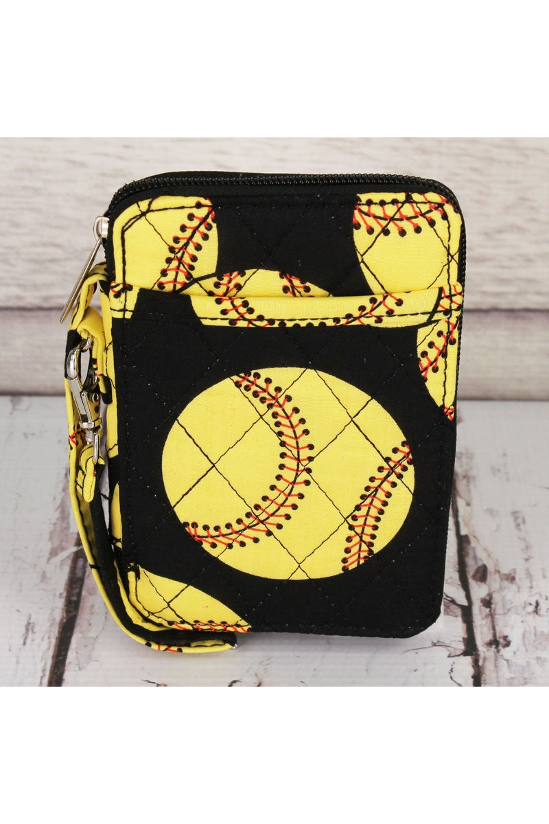Softball Quilted Wristlet #SOF495-BLACK