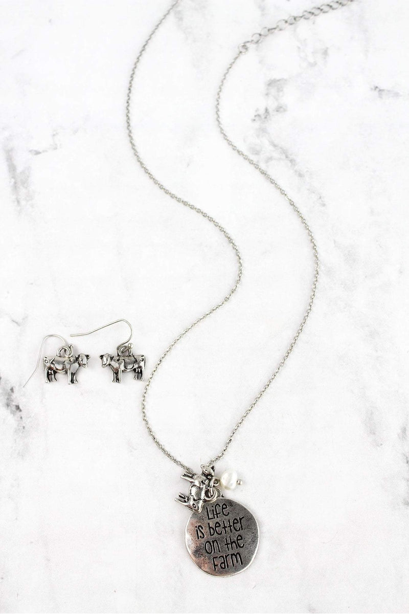 Burnished Silvertone 'Better On The Farm' Necklace and Earring Set