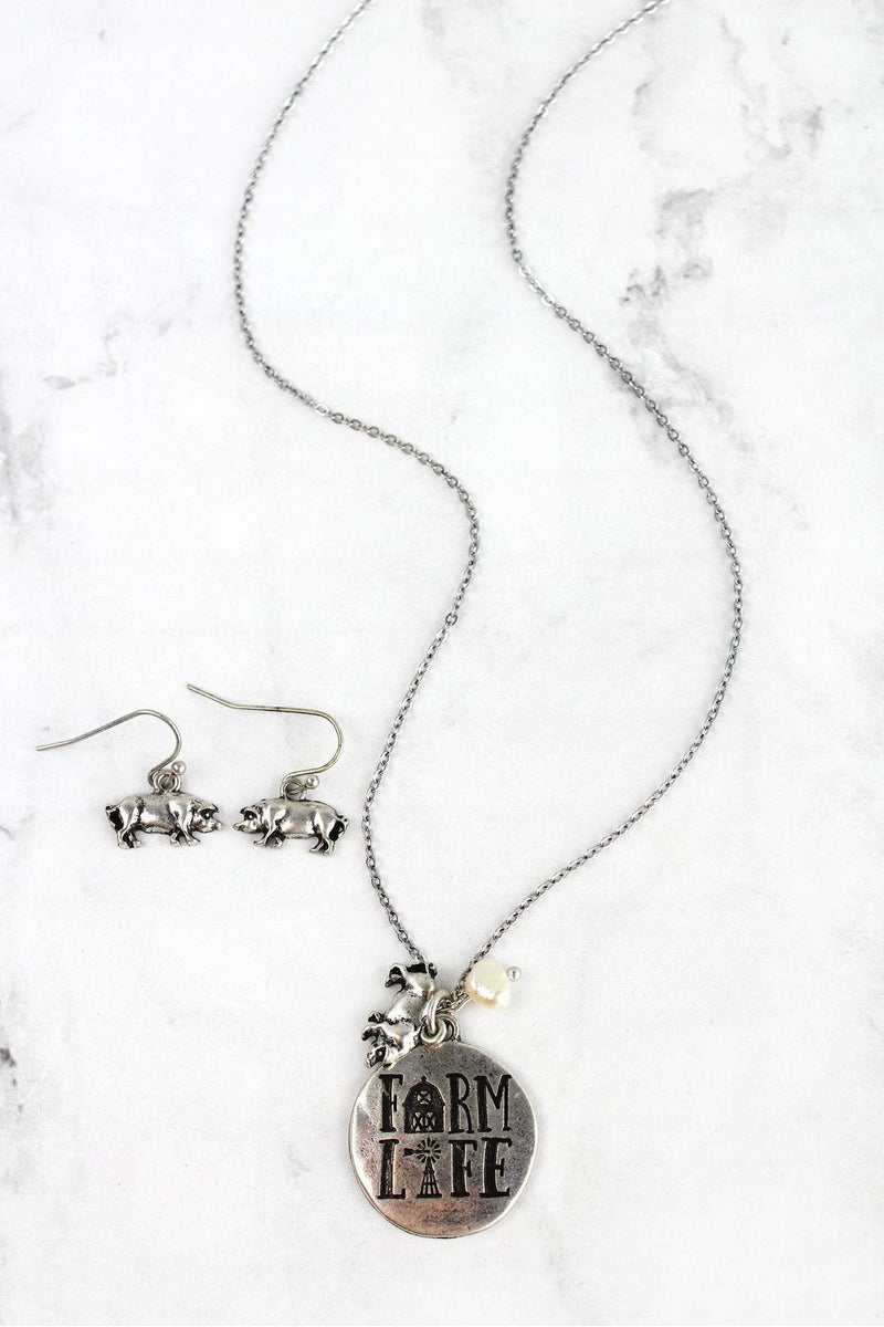 Burnished Silvertone 'Farm Life' Necklace and Earring Set