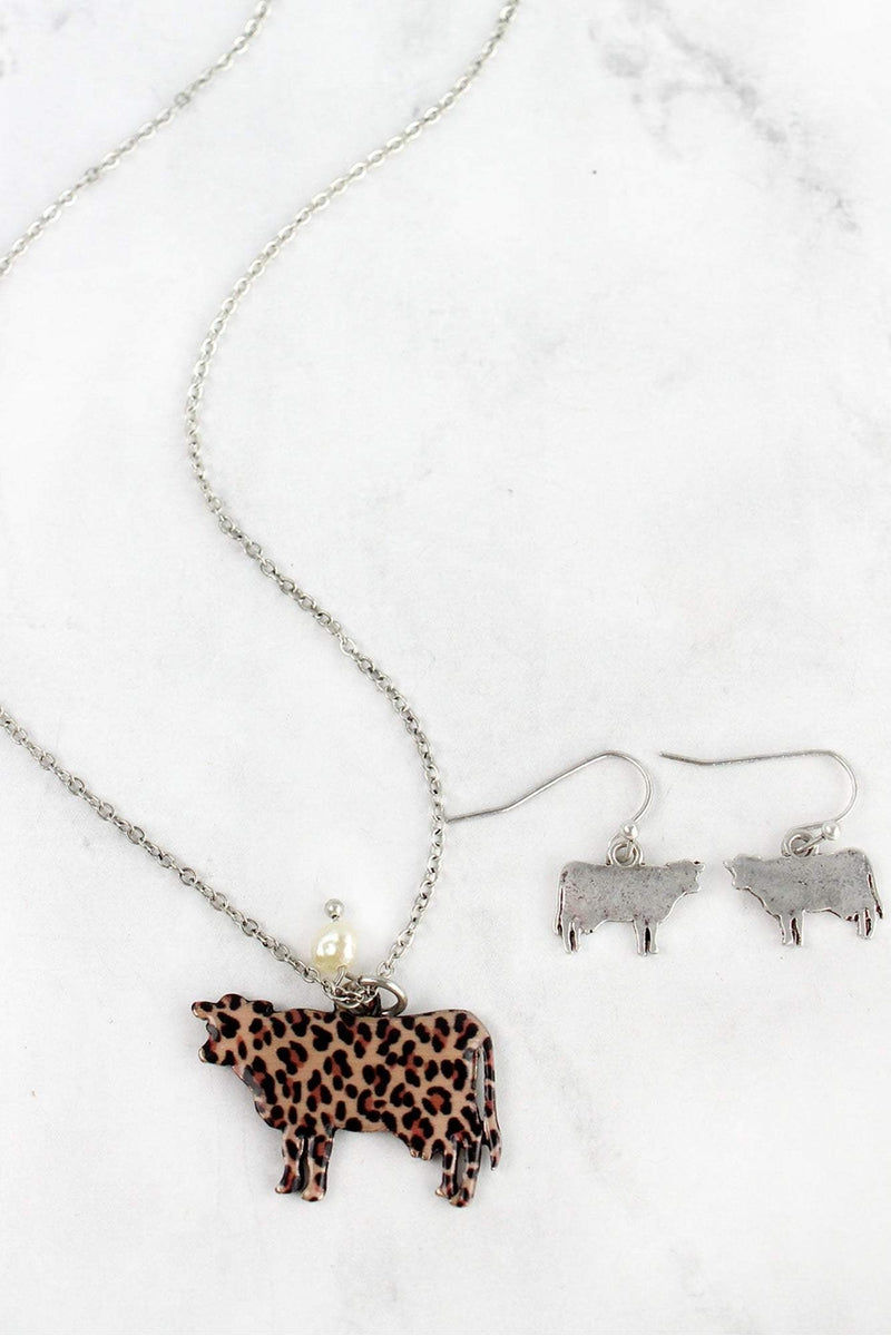 Leopard Print Cow Silvertone Necklace and Earring Set