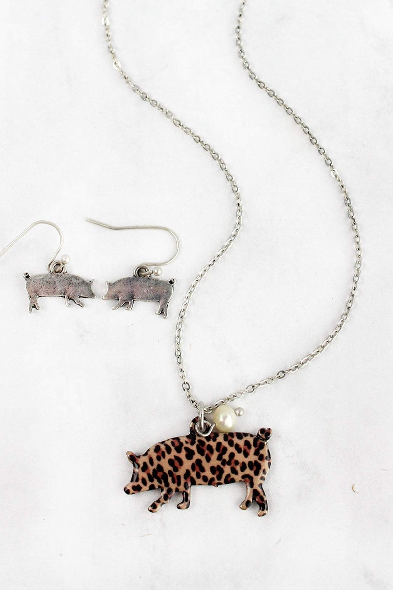 Leopard Print Pig Silvertone Necklace and Earring Set