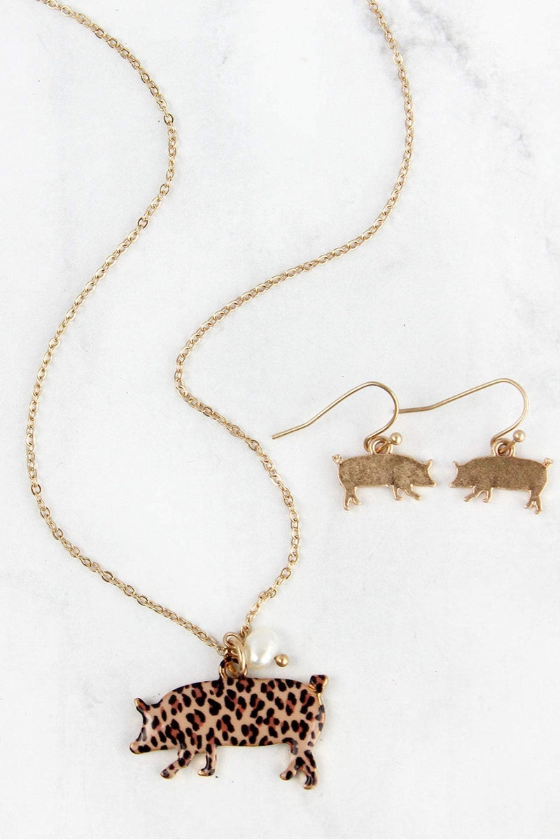 Leopard Print Pig Goldtone Necklace and Earring Set