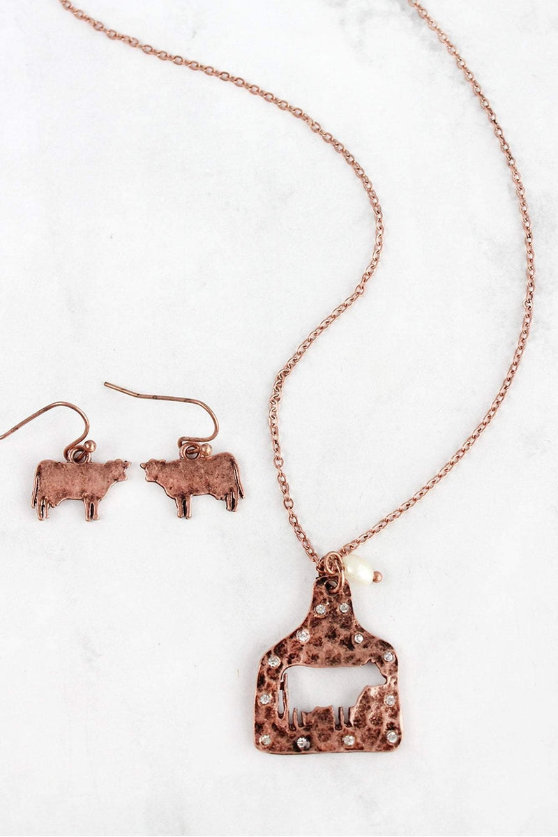 Coppertone Cut-Out Cow Ear Tag Necklace and Earring Set