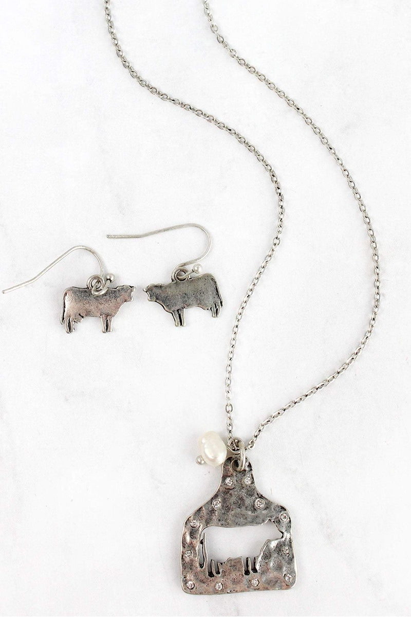 Silvertone Cut-Out Cow Ear Tag Necklace and Earring Set