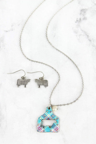 Plaid Cut-Out Cow Ear Tag Silvertone Necklace and Earring Set