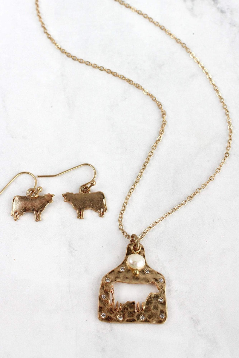 Goldtone Cut-Out Cow Ear Tag Necklace and Earring Set