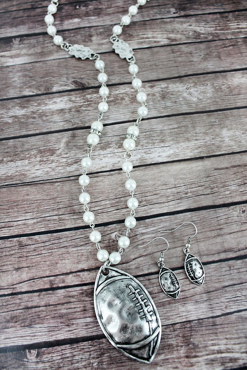 Burnished Silvertone Football Pearl Beaded Necklace and Earring Set