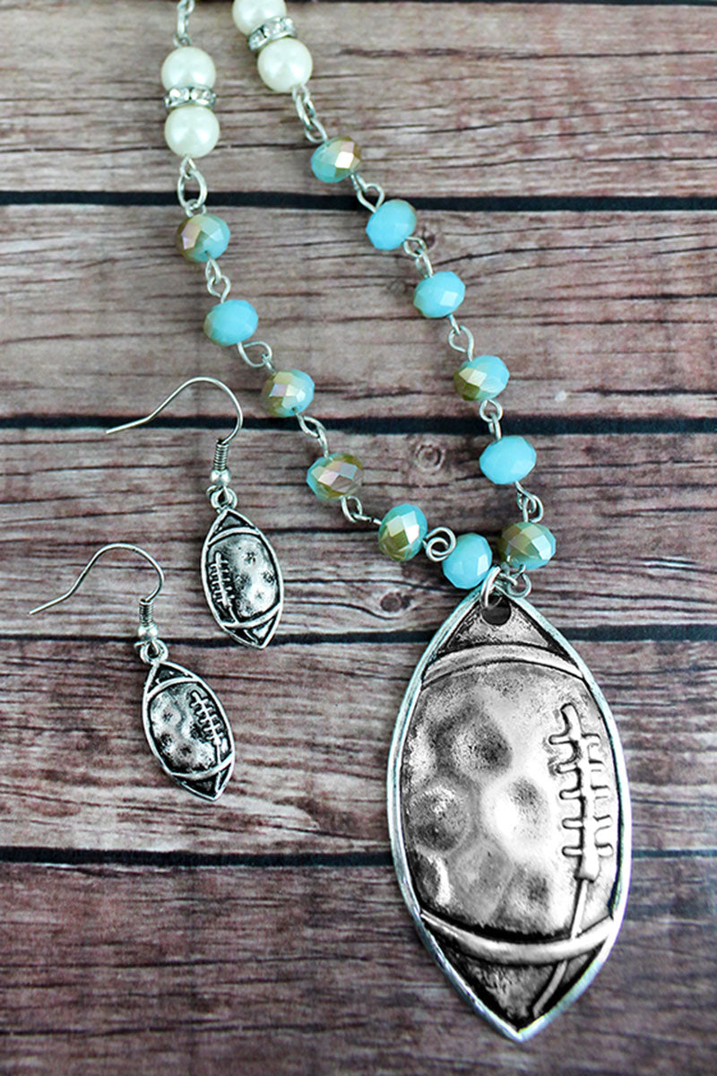 Burnished Silvertone Football Aqua Beaded Necklace and Earring Set
