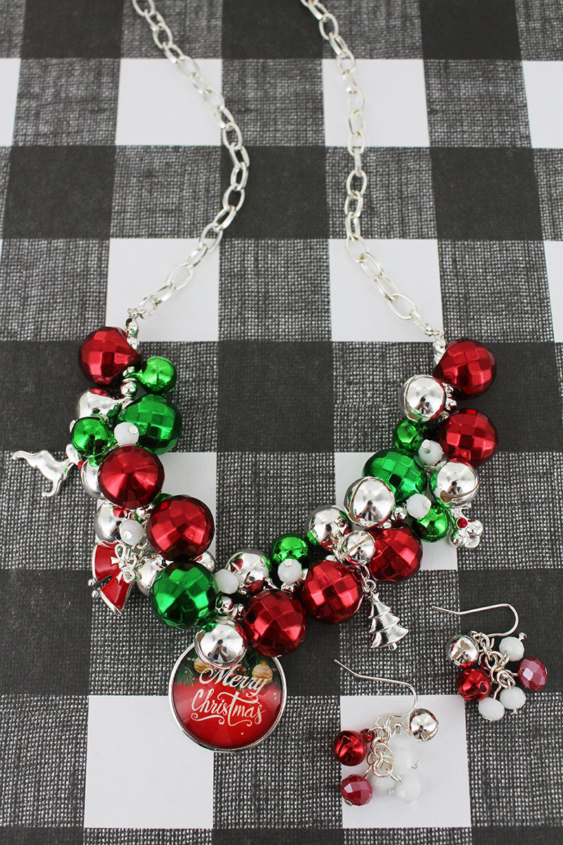 Red, Green, and Silvertone Beaded 'Merry Christmas' Bubble Charm Necklace and Earring Set