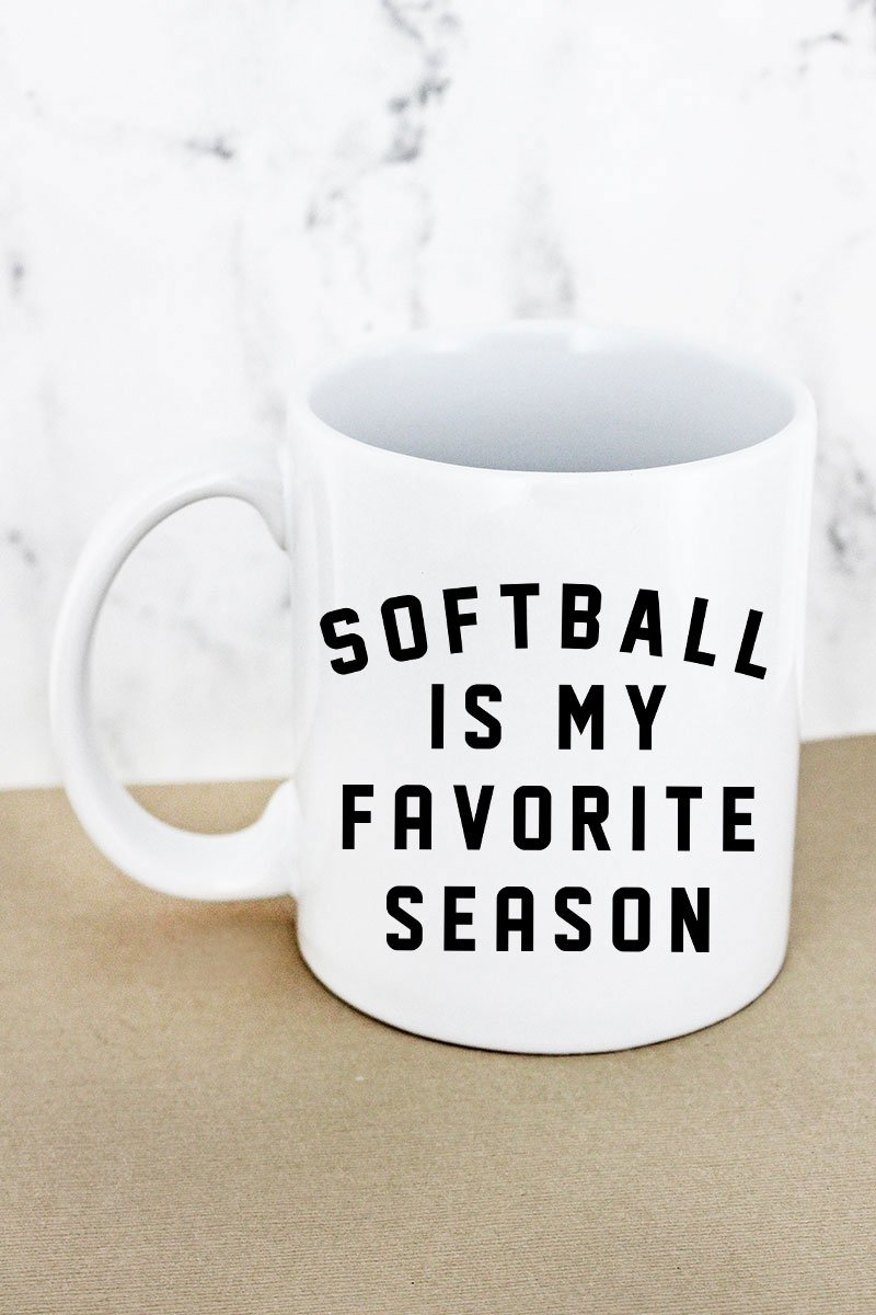 Softball Is My Favorite Season White Mug