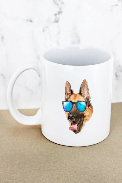 Sunglasses German Shepherd White Mug