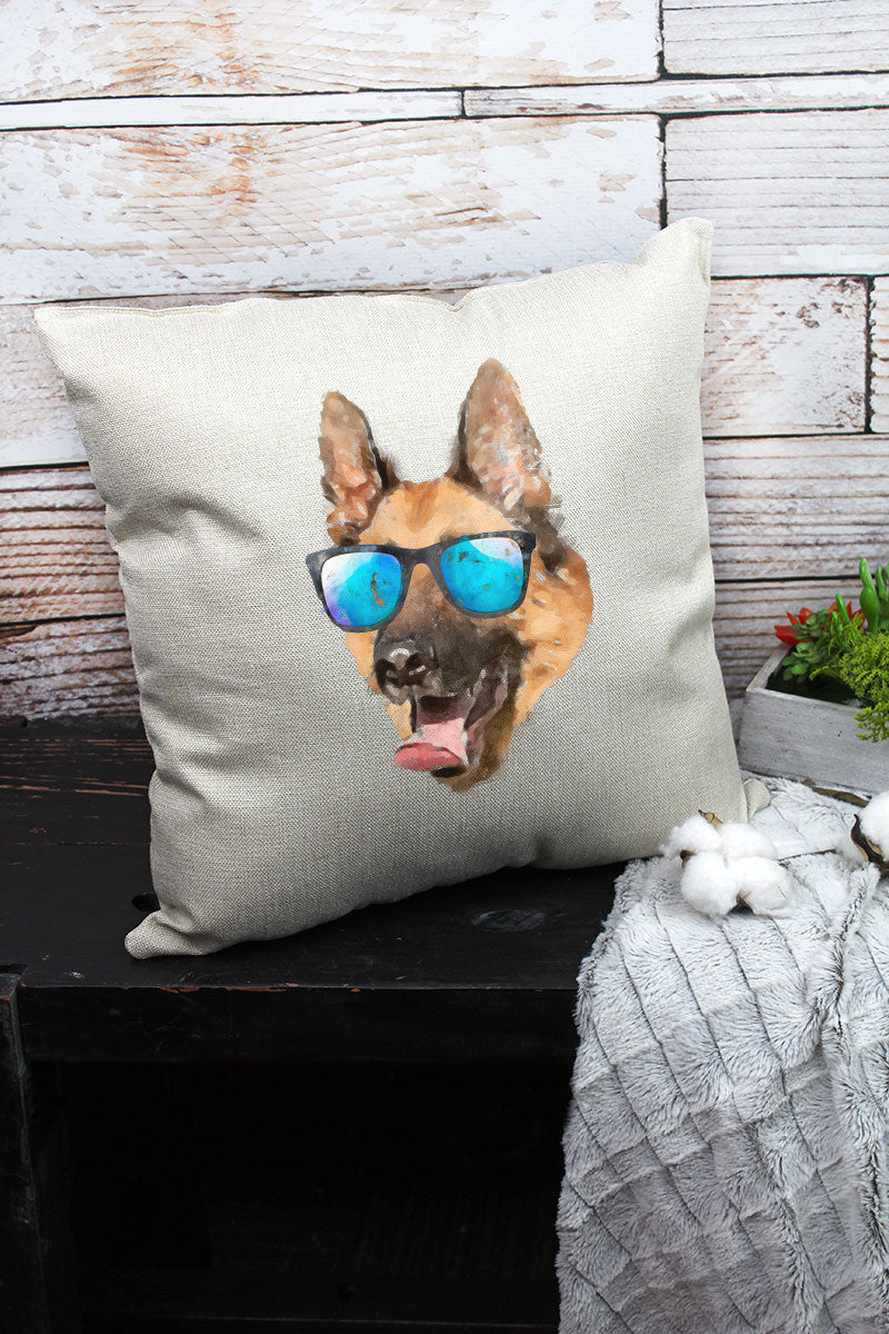 Sunglasses German Shepherd Decorative Pillow Cover