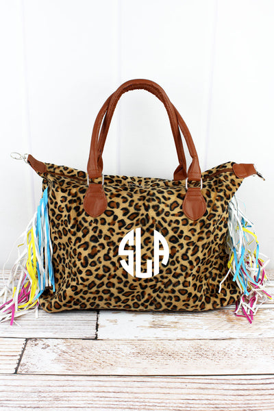 On The Scene Faux Leopard Fur Tassel Tote