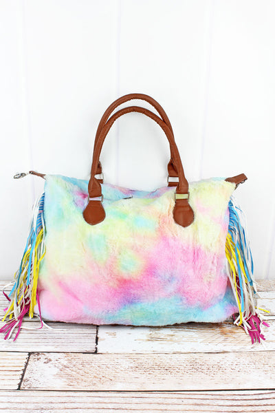 Over The Rainbow Faux Fur Tassel Tote