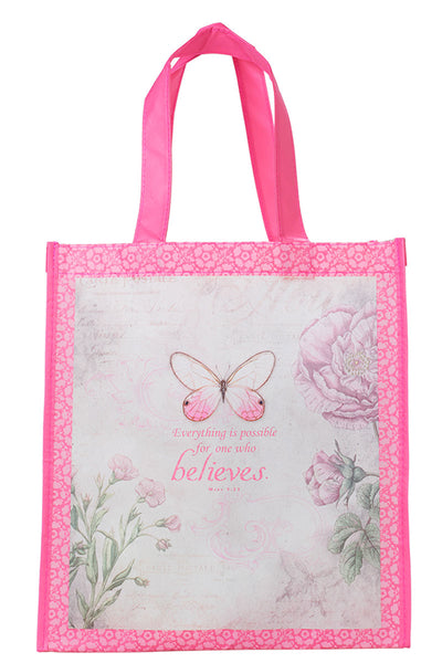 Mark 9:23 'Believe' Botanic Butterfly Blessings Tote Bag