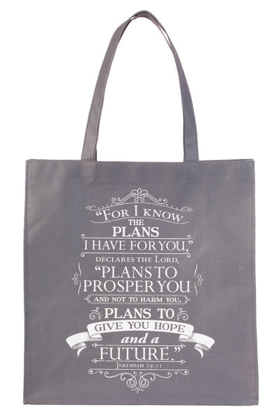 Jeremiah 29:11 'I Know The Plans' Gray Tote Bag