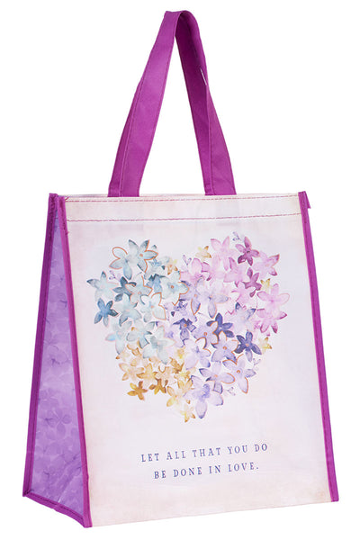 Done In Love Floral Heart Tote Bag