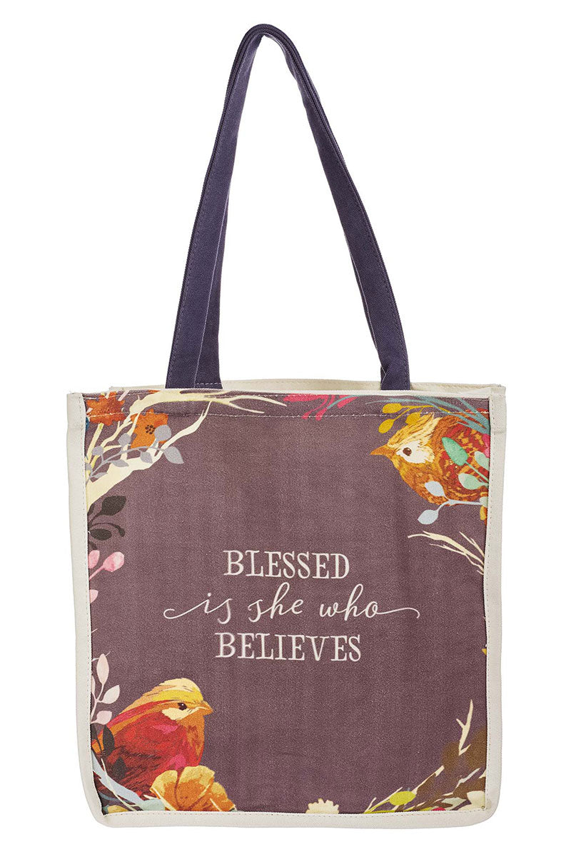 Blessed Is She Who Believes Canvas Tote Bag