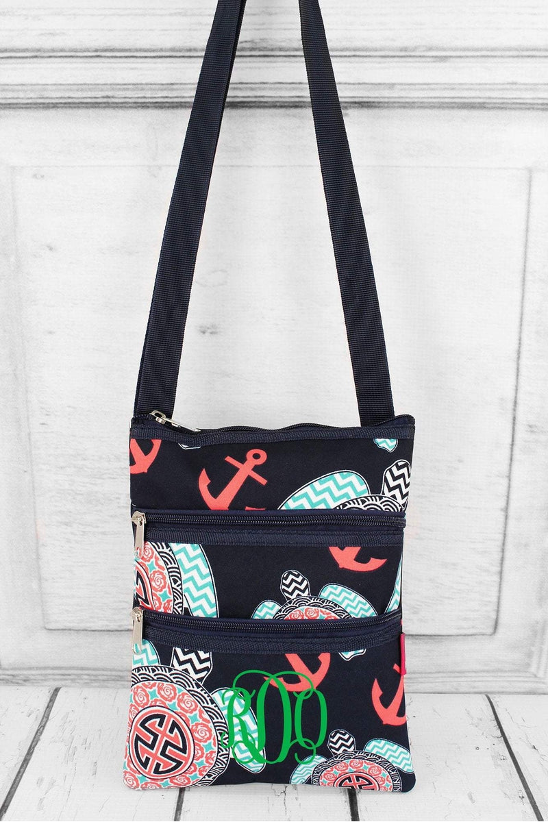 NGIL Preppy Under the Sea Crossbody Bag with Navy Trim
