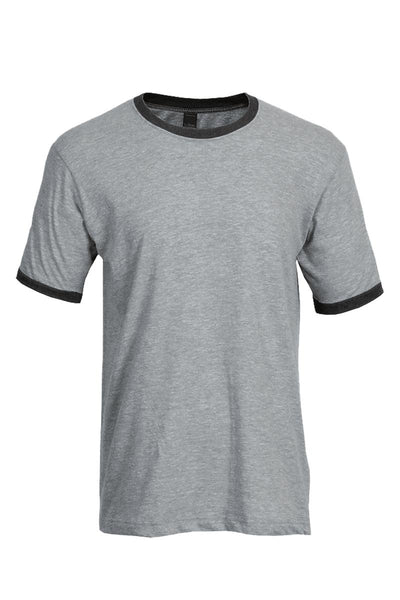 Tultex Unisex Fine Jersey Ringer Tee, Heather Gray/Heather Charcoal