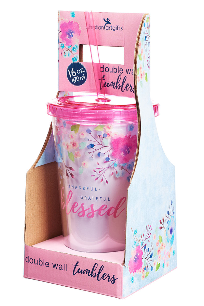 Thankful Grateful Blessed 16 oz Double Wall Tumbler