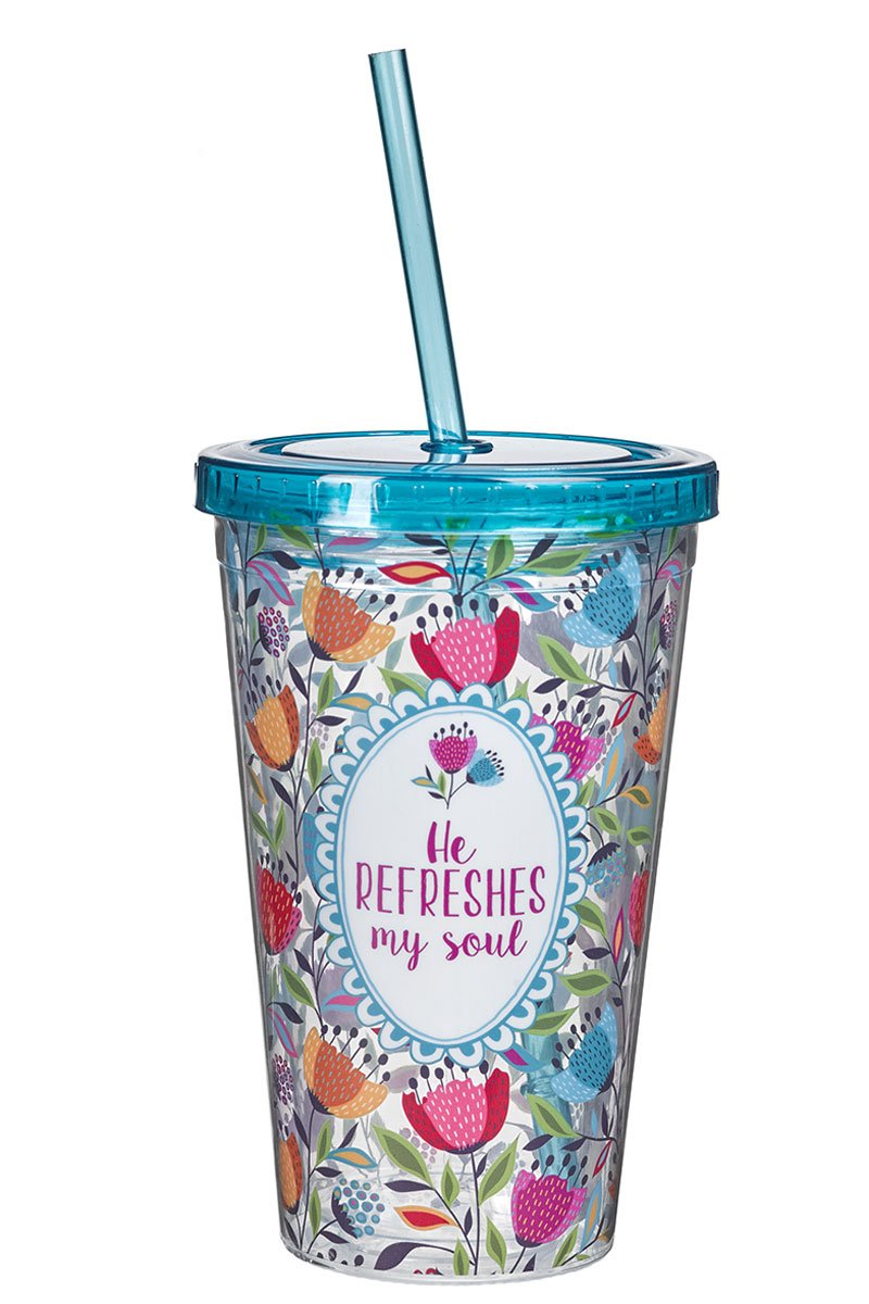 He Refreshes My Soul 16 oz Double Wall Tumbler