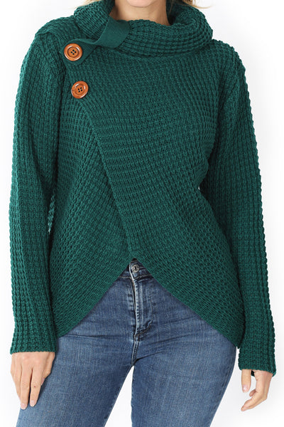 Deep Green Asymmetrical Hem Wrap Waffle Sweater