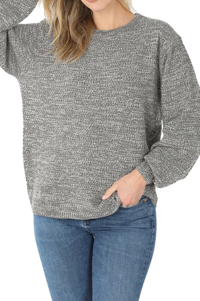 Mid Gray Balloon Sleeve Melange Sweater