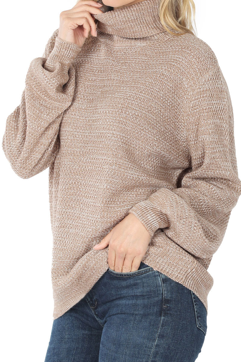 Ash Mocha Melange Balloon Sleeve Turtleneck Sweater