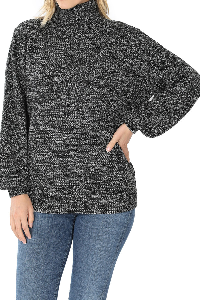 Black Melange Balloon Sleeve Turtleneck Sweater