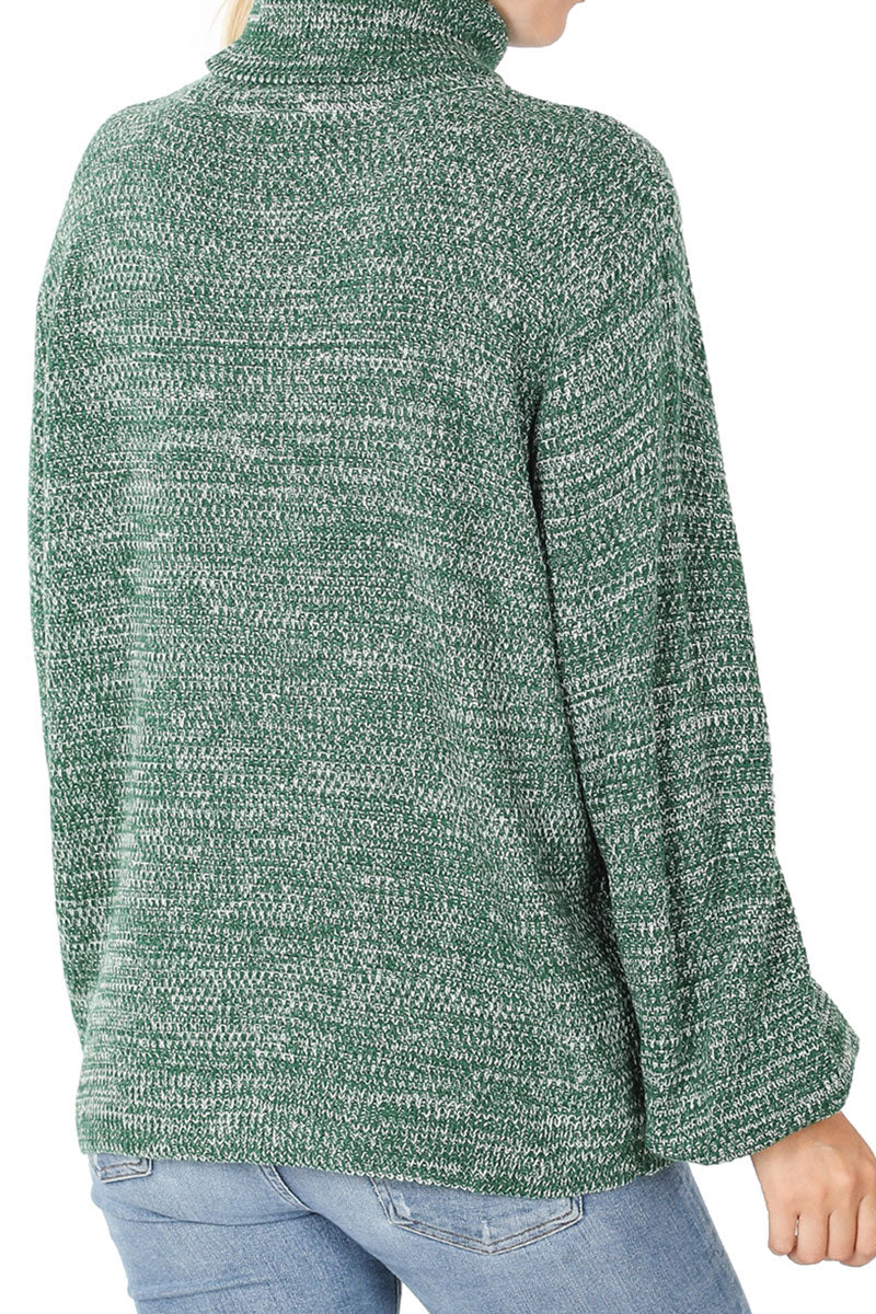 Dark Green Melange Balloon Sleeve Turtleneck Sweater
