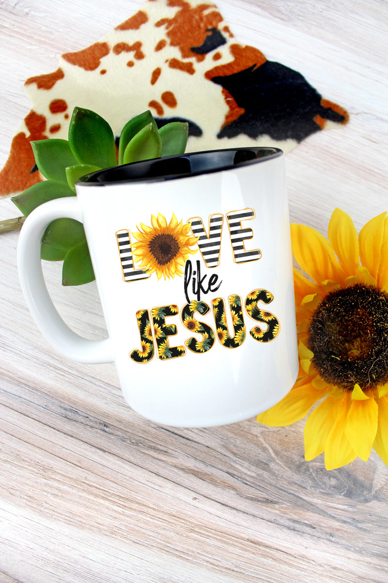 Love Like Jesus Sunflower Two-Tone Mug