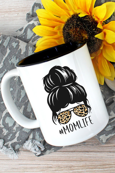 Messy Bun Leopard Mom Life Two-Tone Mug