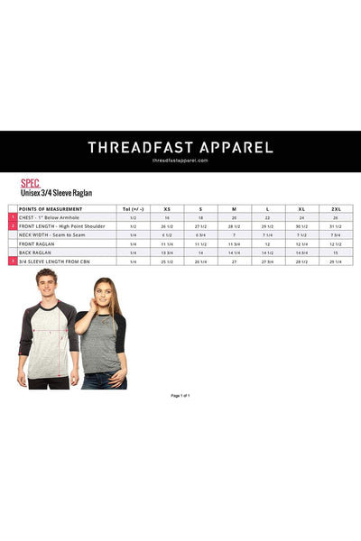 Threadfast Unisex Triblend 3/4-Sleeve Raglan, Gray/Royal Triblend *Personalize It