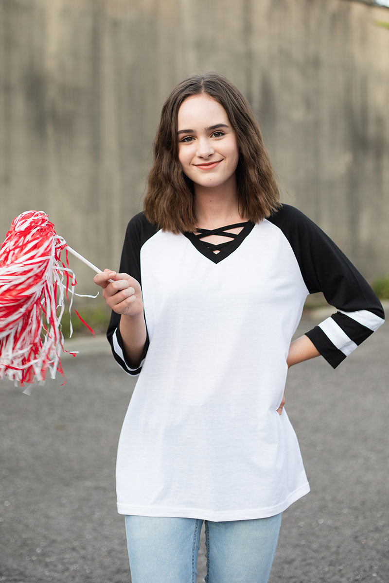 White and Black Varsity Raglan Tee