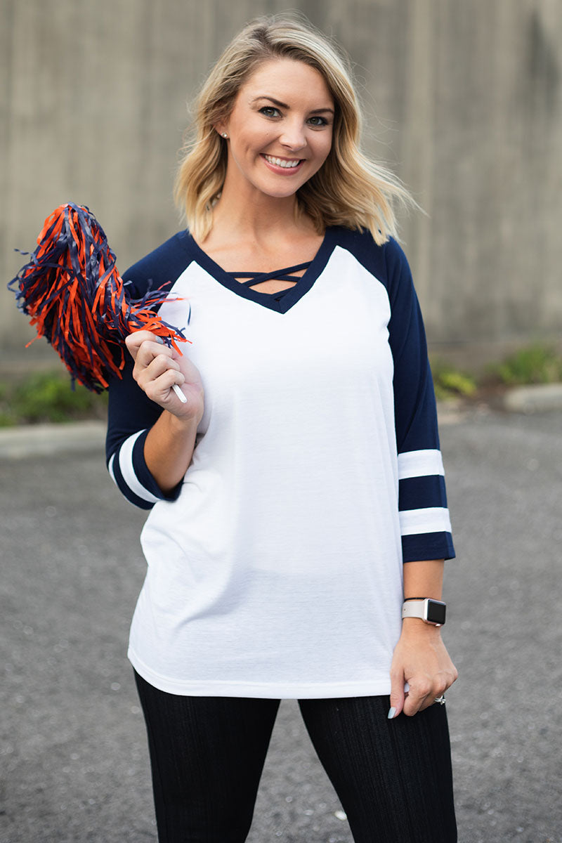 White and Navy Varsity Raglan Tee