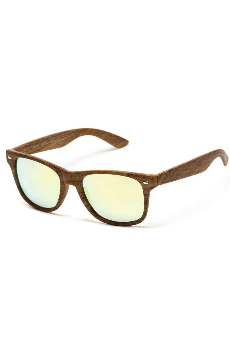 Yellow Lens Faux Dark Wood Horn Rimmed Sunglasses