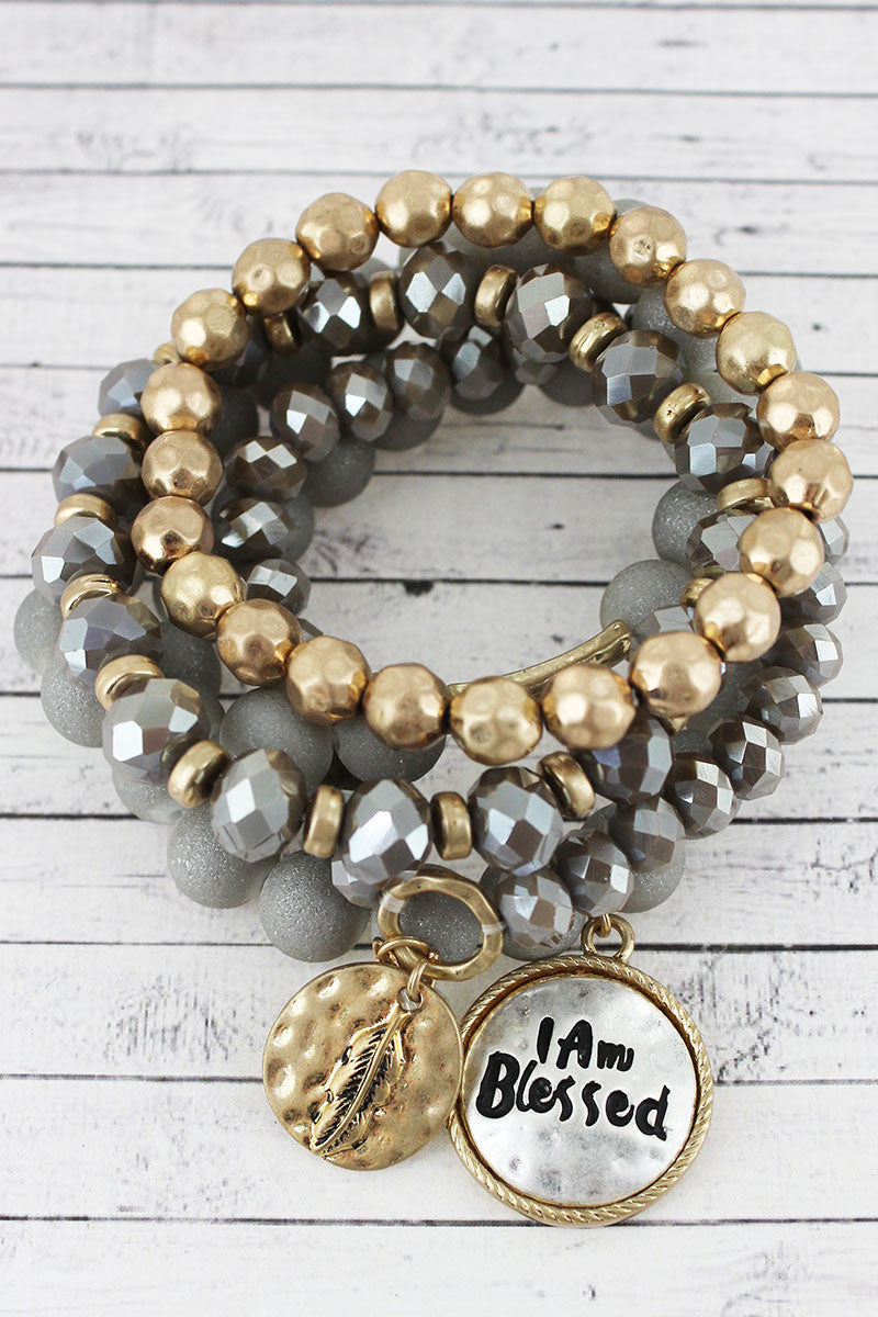 Two-Tone 'I Am Blessed' and Feather Charm Gray Beaded Bracelet Set