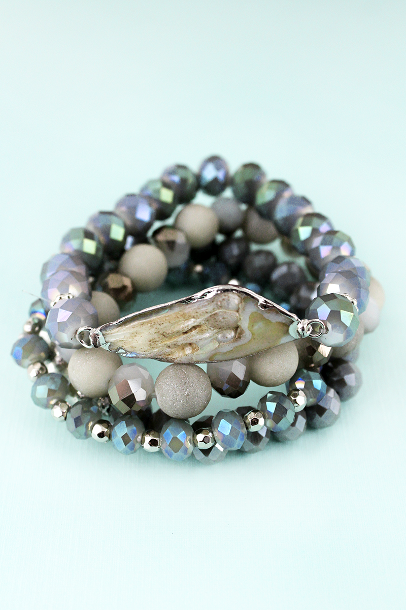 Slate Gray Beaded Rhodium Trimmed Shell Bracelet Set