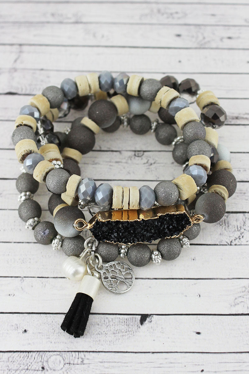 Black Druzy Bar and Tree of Life Cluster Charm Beaded Bracelet Set